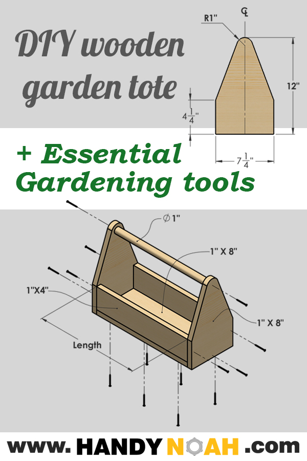 How to make your own wooden garden tote using common wood boards plus essential gardening tools every home owner needs to have