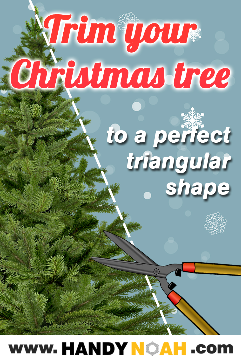 Easy tutorial to shape or trim your Christmas tree to a perfect triangular shape using households tools and items.